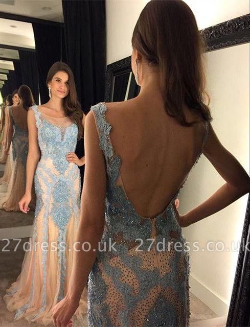 Gorgeous Beadings Mermaid Prom Dress UK Open Back Sweep Train AP0