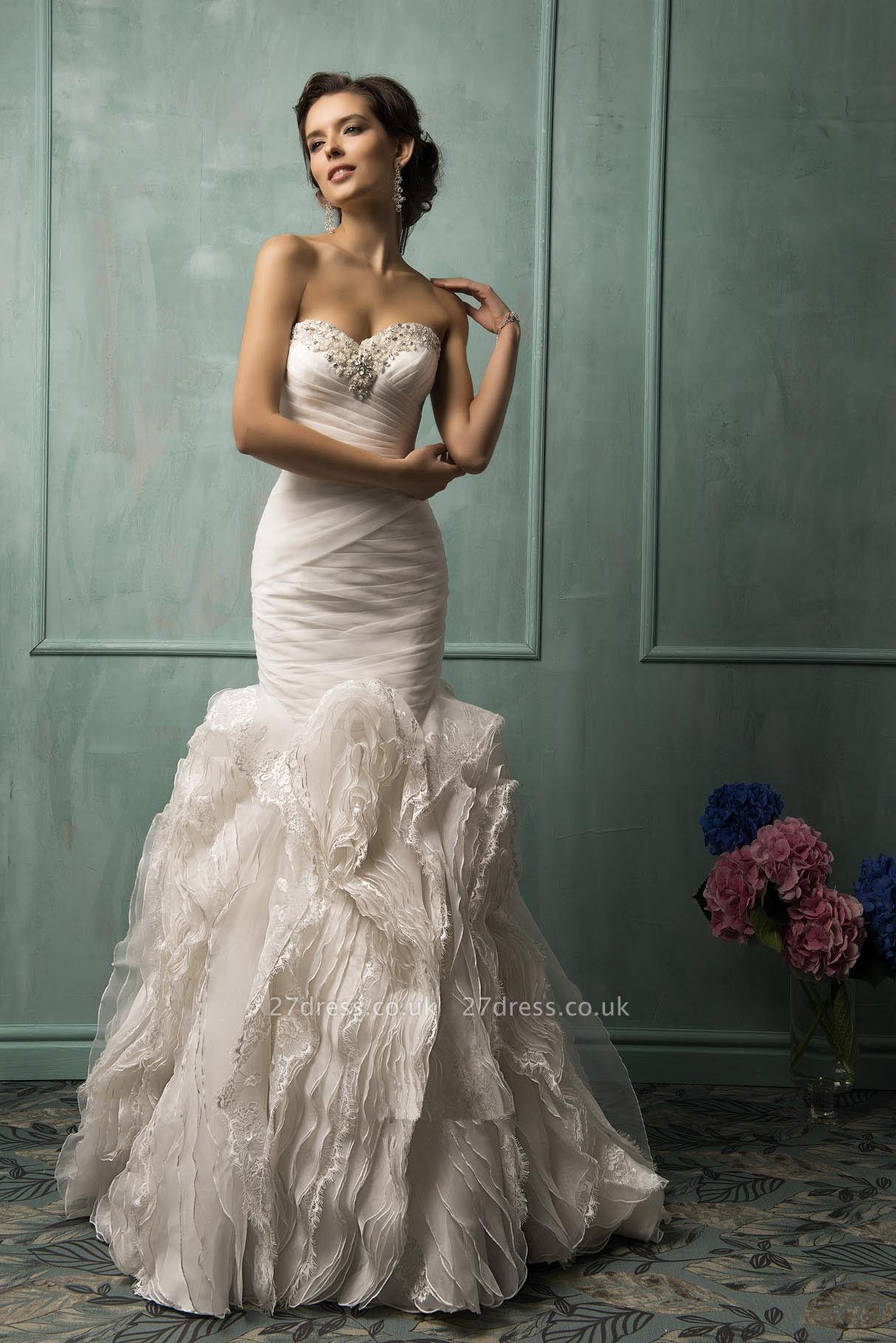 Sleeveless Sexy Mermaid Tulle Wedding Dress With Ruffles Beadss