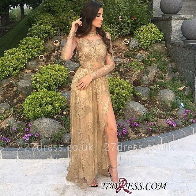 Gold Side-Slit High-Neck Long-Sleeves Elegant Appliques Tulle Prom Dress UKes UK BA8499