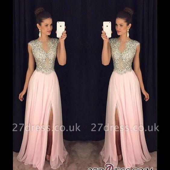 A-line luxury Crystals Long Beaded Pink Front-Slit Prom Dress UKes UK AP0 BA4627