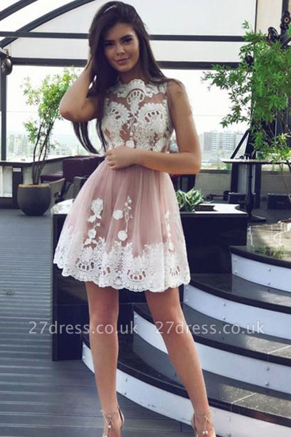 Sexy Short Lace Homecoming Dress UK On Sale With Tulle BA9529