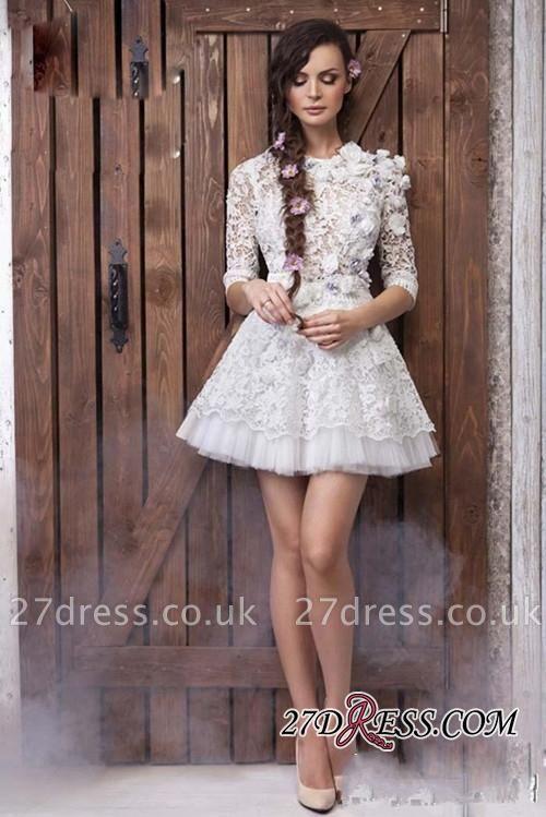 Sheer 3D-Floral Half-Sleeves Short Appliques  Wedding Dresses UK