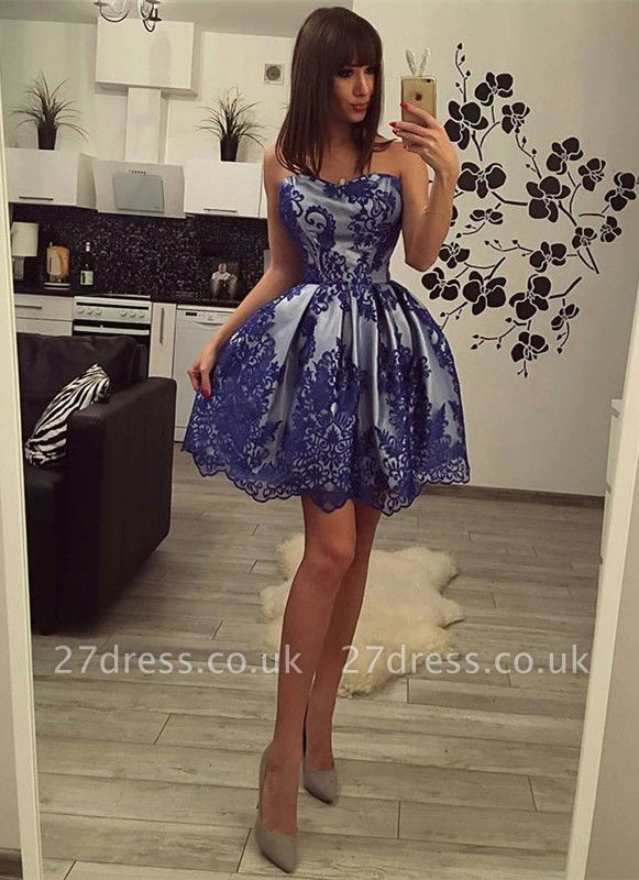 Charming Strapless Lace Homecoming Dress UK Short Party Gowns On Sale