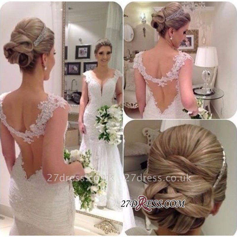 Sleeveless Backless Sheath-Sheath Straps  Lace Wedding Dress