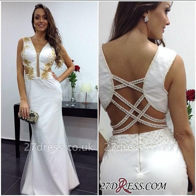 White Sheath Elegant Floor-length V-neck Prom Dress UK