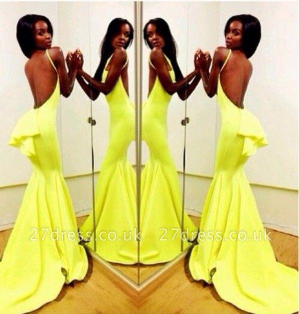 Backless Yellow Mermaid Prom Dress UKes UK Sleeveless Spaghetti Straps Evening Gowns BK0