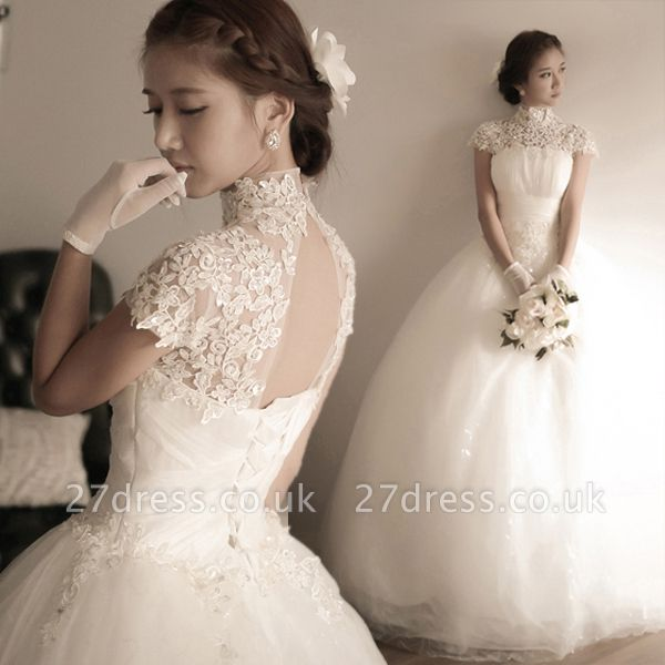 Elegant Tulle Lace Appliques Wedding Dress High Neck Ball Gown
