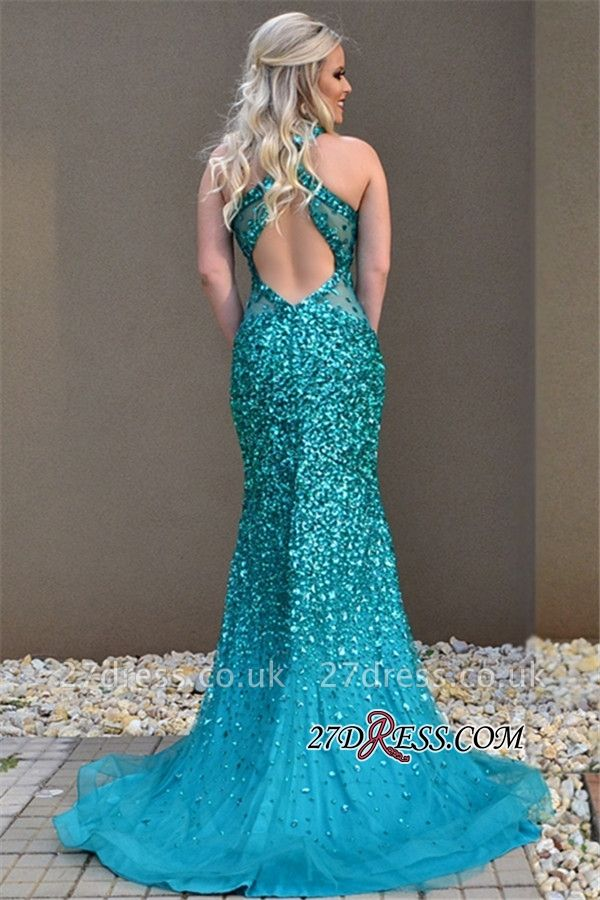 Mermaid Open-Back Open-Back Sleeveless Elegant Crystal Prom Dress UK