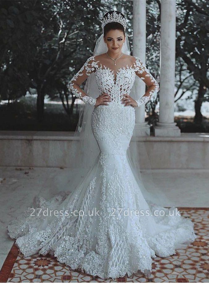 Elegant Long Sleeve Lace Wedding Dress | 2019 Sexy Mermaid Bridal Gowns On Sale
