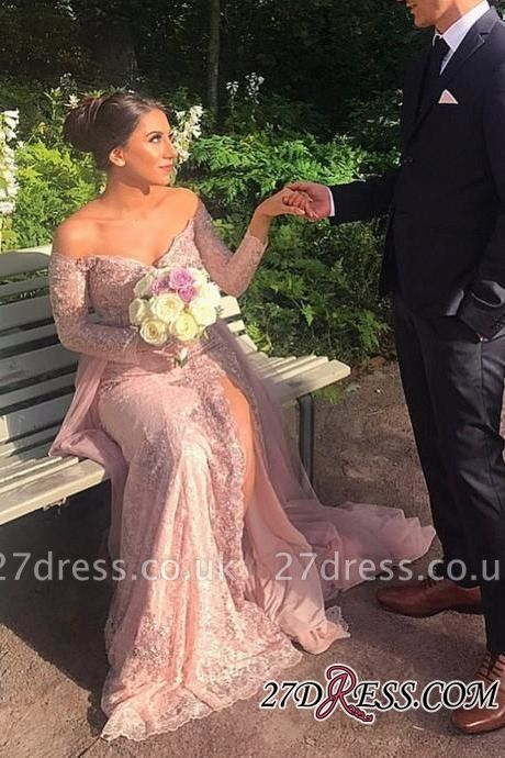 Long-Sleeve Mermaid Lace Prom Dress UK   Off-the-shoulder Evening Gowns With Split
