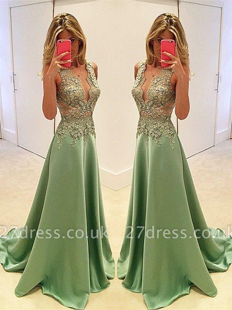 Luxury Sleeveless Appliques Evening Dress UK Long Floor Length BA3158