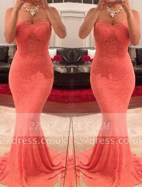 Mermaid Sweetheart Evening Dress UKes UK Sleeveless Sweep Train Party Gowns