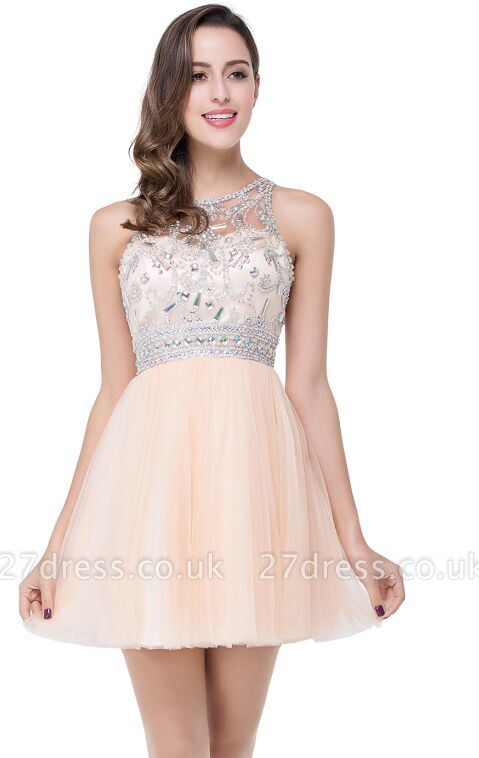 Sexy Beadings Crystal Short Prom Dress UK Chiffon Homecoming Gown