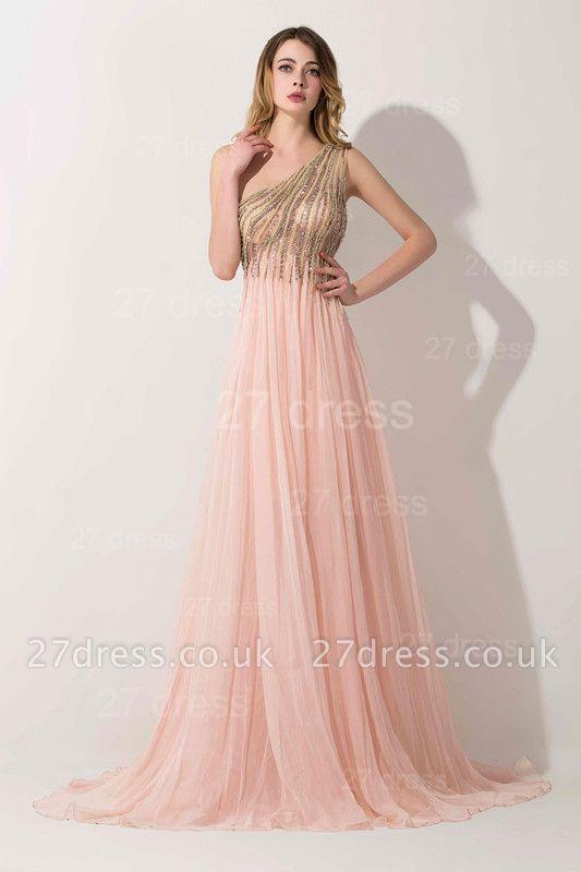 Lovely Pink One Shoulder Prom Dress UK Long Chiffon Lace