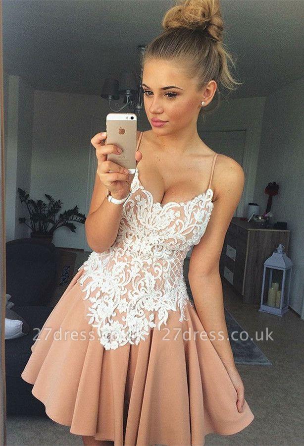 Spaghetti-Straps Homecoming Dress UK | Lace Short Party Dress UK