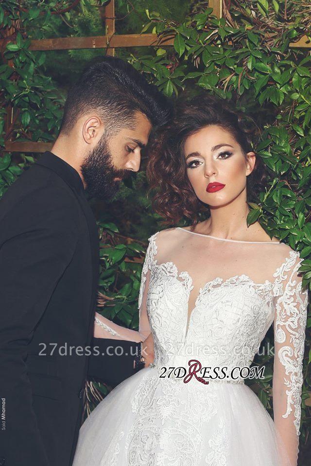 Crystal Tulle White Elegant Long-Sleves Appliques Wedding Dress
