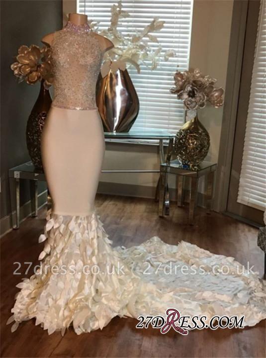 Mermaid High-Neck Prom Dress UKes UK Sleeveless Sleeveless Appliques with Ruffles