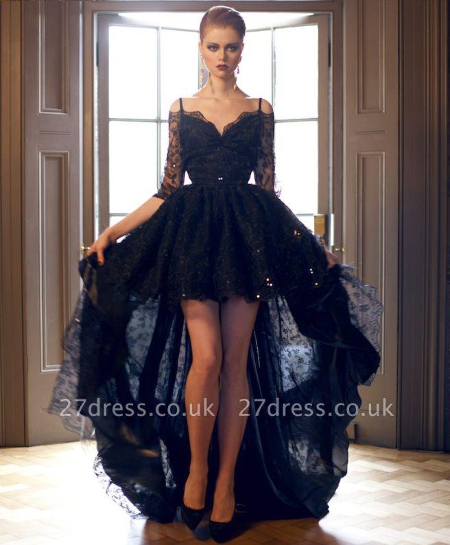 Luxury Hi-Lo Off-the-Shoulder Lace Half-Sleeve Evening Prom Dress UK