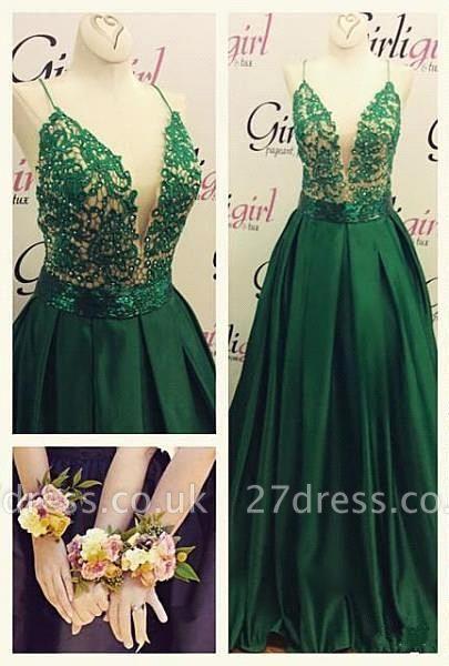 Luxury Green Spaghetti Straps Evening Dress UK Long Lace Appliques