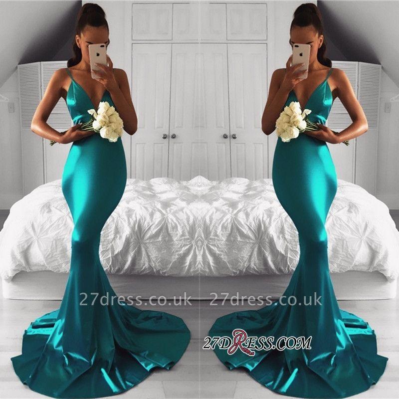 Green Elegant Sleeveless Mermaid Spaghetti-Strap Prom Dress UK BA7761
