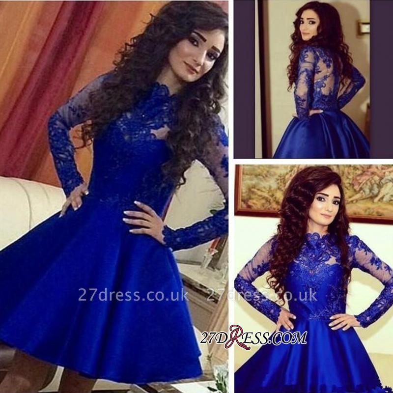 Royal-Blue A-Line Lace Short Long-Sleeve Cute Homecoming Dress UKes UK BA3800