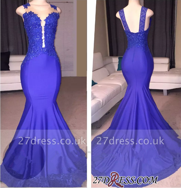 Sleeveless Elegant Mermaid Appliques Court-Train Prom Dress UK BA8218