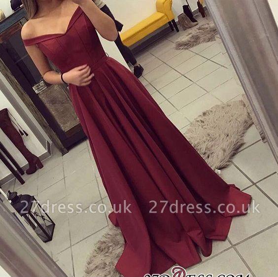Off-the-Shoulder Burgundy A-line Teens Sexy Prom Dress UKes UK BA4791