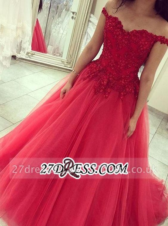 Princess Sexy off-the-shoulder Appliques Beads Tulle Prom Dress UK