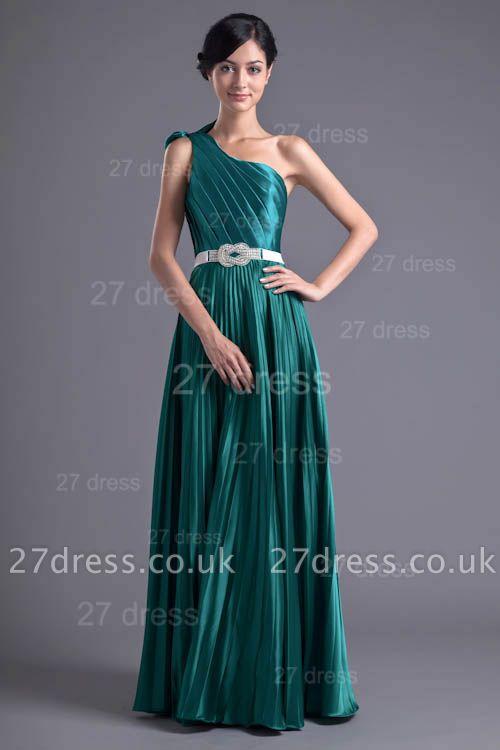 Modern One Shoulder Ruffles Evening Dress UK Floor-length Zipper