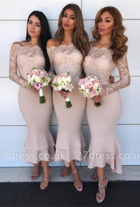Hot Sale Long Sleeve Bridesmaid Dress UK | Lace Maid of Honor Dress UK