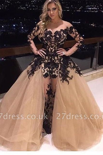 Gorgeous Long Sleeve Black Appliques Prom Dress UK Tulle Ruffles Party Gowns BA8156
