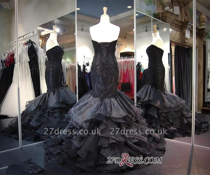 Modern Black Sweetheart Sweep-Train Ruffles Sleeveless Lace-up Evening Gown