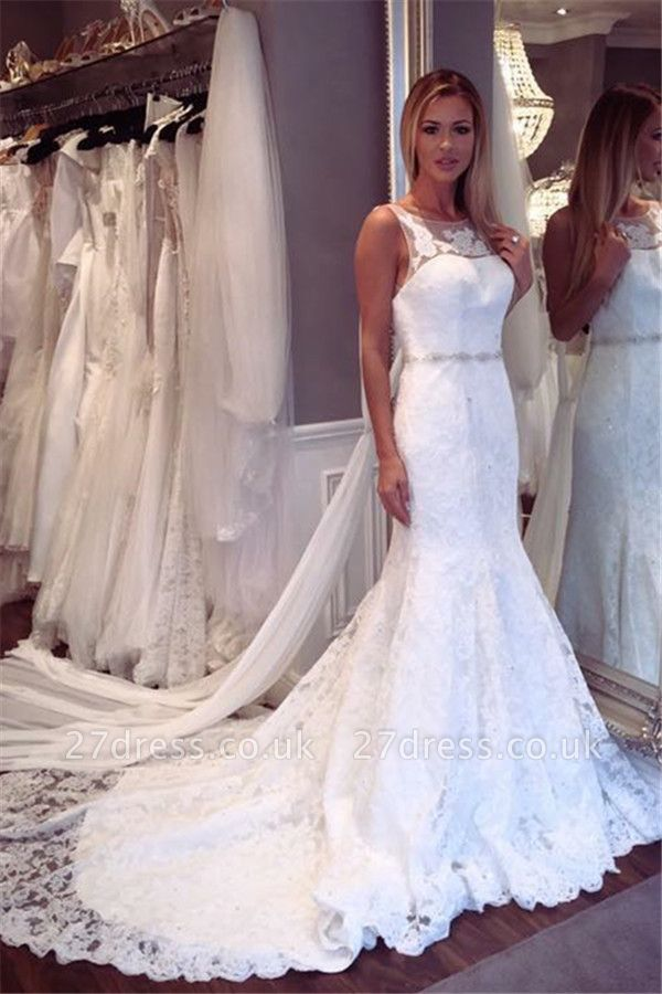 Elegant Lace Sexy Mermaid Sleeveless Wedding Dresses UK Open Back Crystall Bridal Gowns