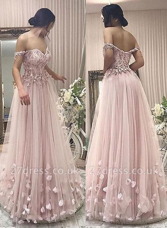 Simple Off-the-shoulder Lace Pink Prom Dress UK   Sexy Prom Dress UK