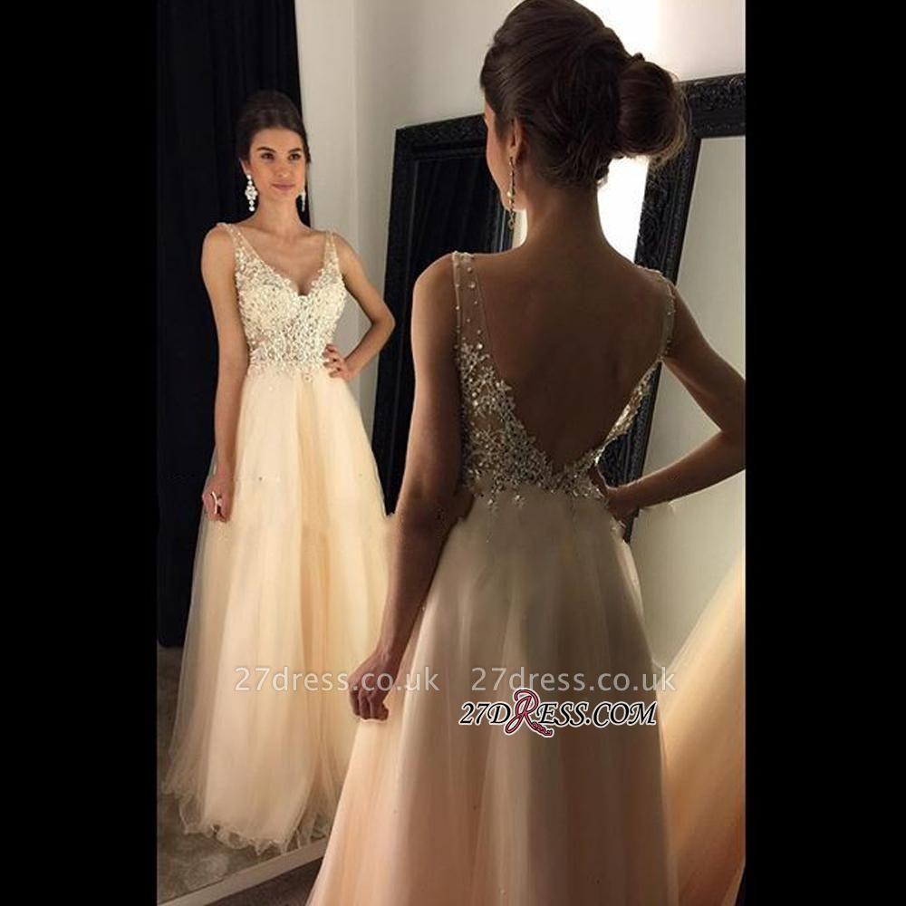 V-Neck Champagne Open-Back Lace A-line Long Beaded Prom Dress UKes UK BA4046