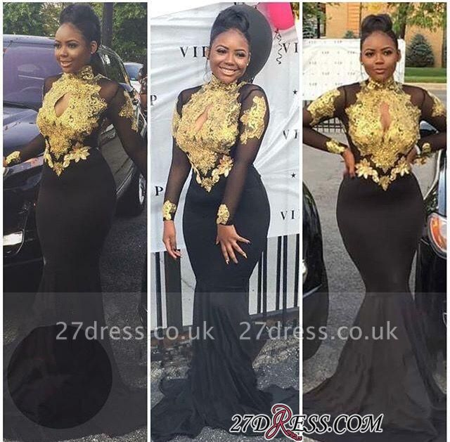 High-Neck Sexy Gold-Appliques Backless Long-Sleeves Prom Dress UKes UK BA4987