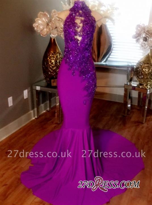 Mermaid Sleeveless Prom Dress UK Lace-Appliques Evening Dress UKes UK Beaded High-Neck Court Train CC0009