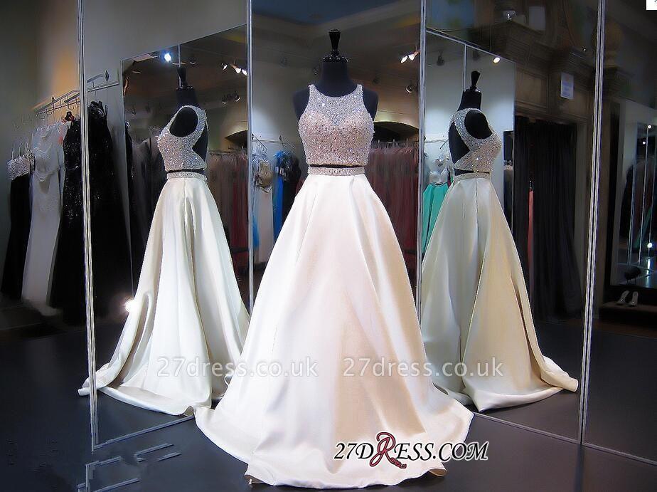 Elegant Jewel Two-Piece Beads Zipper Sleeveless A-line Prom Dress UK