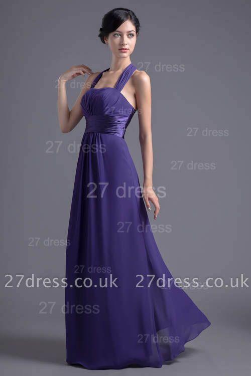 Sexy A-line Chiffon Halter Evening Dress UK Zipper Floor-length