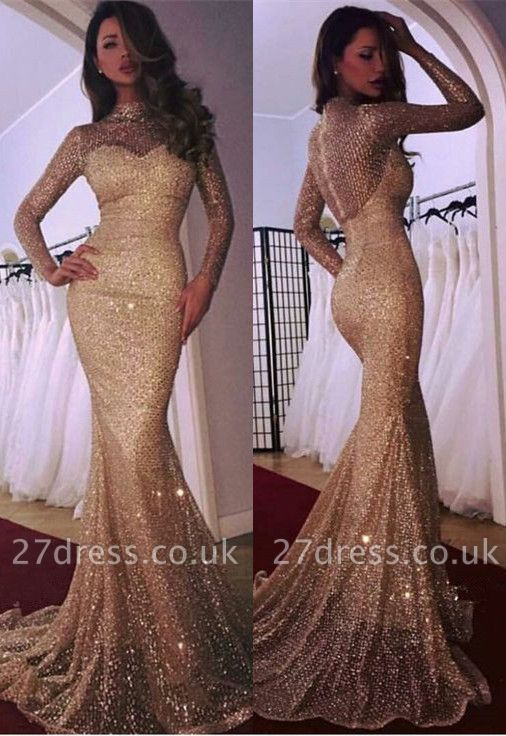 Gorgeous Long Sleeve Evening Dress UK | 2019 Mermaid Prom Dress UK With Sequins
