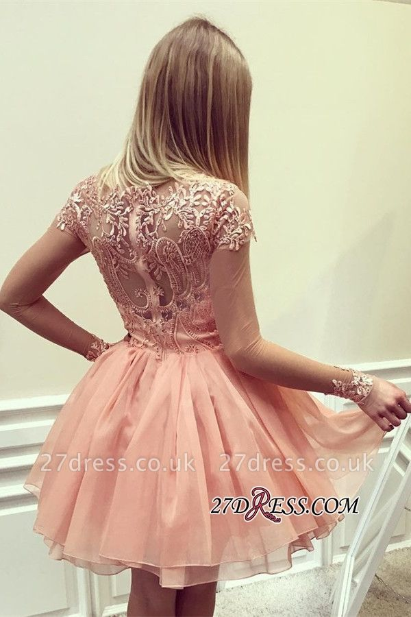Appliques Gorgeous Short Long-Sleeves A-Line Homecoming Dress UK