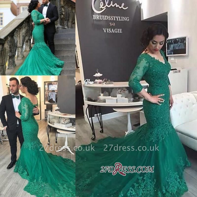 Court-Train Mermaid Newest Tulle Appliques V-Neck Prom Dress UK BA4275
