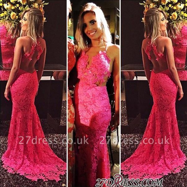 Red Sleeveless Open-Back Elegant Mermaid Lace Prom Dress UKes UK BA6677