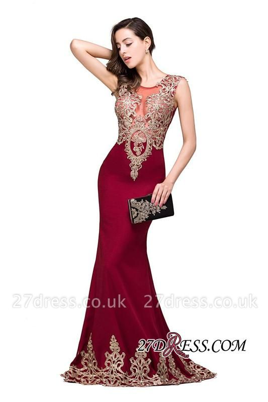 Appliques Sleeveless Lace Mermaid Sheer-Back Burgundy Long Evening Dress UKes UK