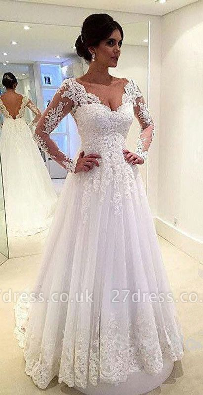 Long Sleeves Lace Beach Wedding Dresses V Neck Open Back Floor Length Bridal Gowns