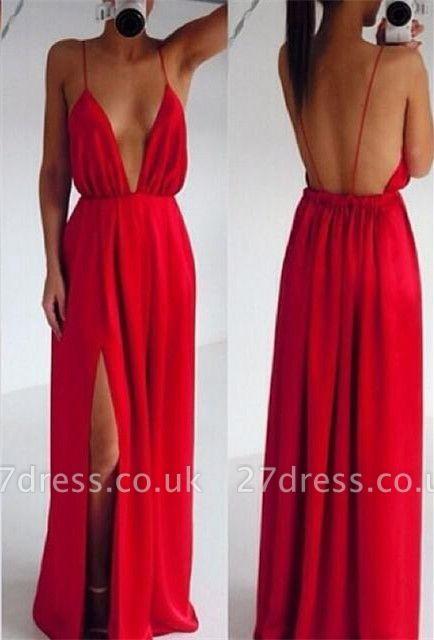 Elegant Red Spaghetti Straps Prom Dress UK Long Deep V-Neck