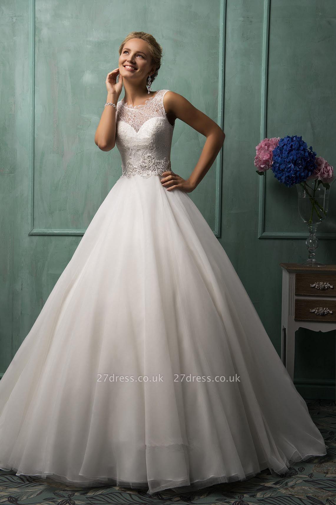 Timeless Illusion Princess Wedding Dress Lace Zipper Button Back