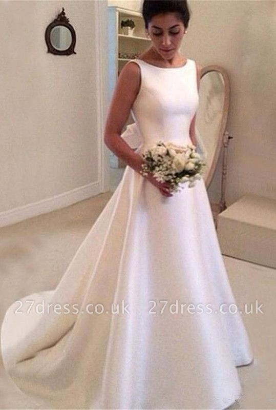 Elegant Scoop Neckline Wedding Dress | Backless Bridal Gowns