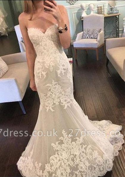 Pretty Sweetheart Lace Wedding Dresses UK Sexy Mermaid Tulle Sheer Skirt
