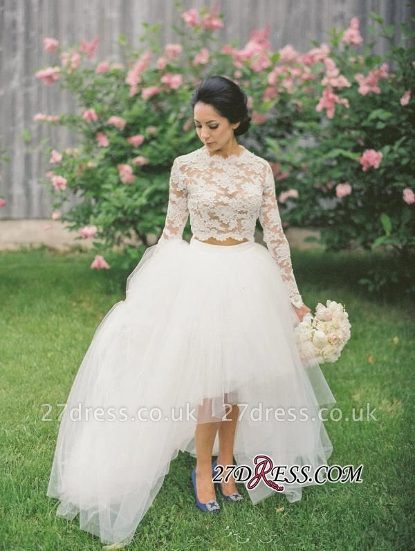 Hi-Lo Long Two Lace Piece Tulle Stunning Appliques Sleeve Wedding Dress